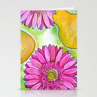preppy Stationery Cards featuring Preppy Pears & Daisies by Limezinnias Design