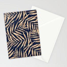 Elegant Gold Tropical Palm Leaves Blue Design Stationery Cards