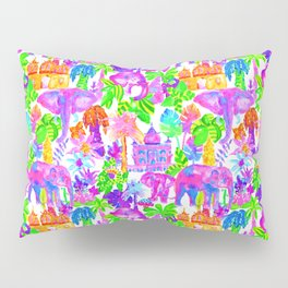 Indian Elephants in Tropical Watercolor Pillow Sham
