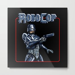 Robocop 8bit Metal Print