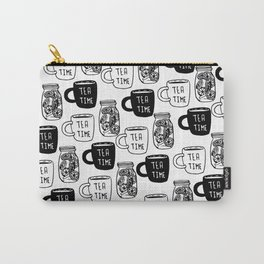 Abstract black white tea cups modern typography Carry-All Pouch