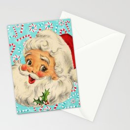 Sweet Vintage Santa with Candy Canes Stationery Cards