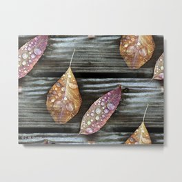 Autumn Leaves with Raindrops Metal Print