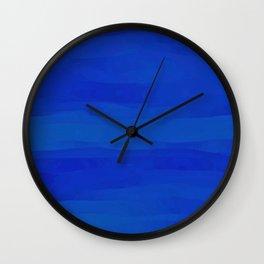 Subtle Cobalt Blue Waves Pattern Ombre Gradient Wall Clock