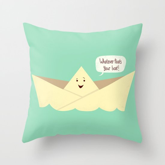 Happy boat Throw Pillow