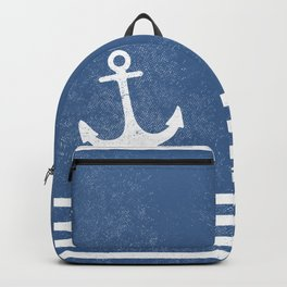 Anchor with stripes blue and white for the regatta Backpack