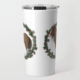 Brown Draft Horse in Merry Wreath Travel Mug