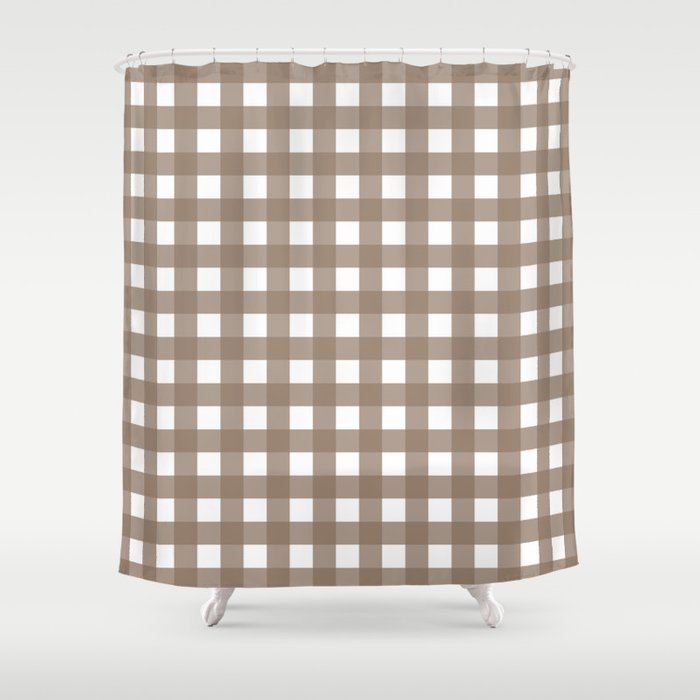 Farmhouse Gingham in Brown Shower Curtain by bungalowongoldenhill ...