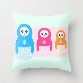 Winter matrioshka candy penguins Throw Pillow