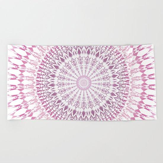 Rose White Mandala Beach Towel
