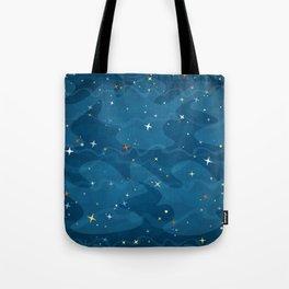 Nebula Waves and Stars Pattern Tote Bag