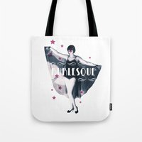 burlesque Tote Bags featuring BURLESQUE by TOO MANY GRAPHIX