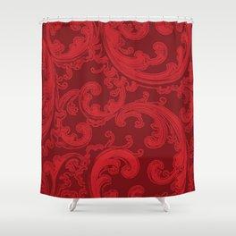 Retro Chic Swirl Flame Scarlet Shower Curtain