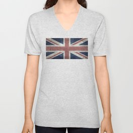 UK Flag, Retro Desaturated 1:2 scale Unisex V-Neck