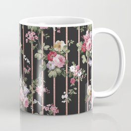 Elegant faux rose gold black stripes vintage blush pink lavender floral Coffee Mug