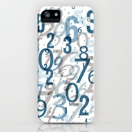 All the numbers, blue and taupe iPhone Case