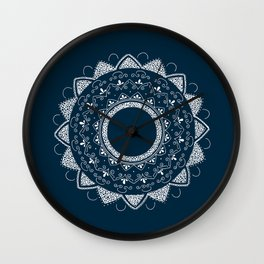 Precious white mandala on blue Wall Clock