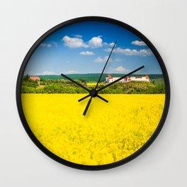Rape flower field in Transylvania Wall Clock