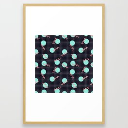 Cyan Circles and Pink Sharp Angled Lines on Dark Grid Pattern Framed Art Print