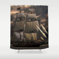 sailing Shower Curtains featuring Sailing by Kristiana Art Prints
