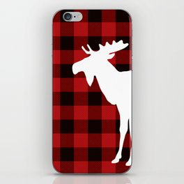White Moose   Red Buffalo Plaid iPhone Skin