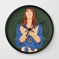 hippy Wall Clocks featuring Hippy Girl  by Eugene Ovchar