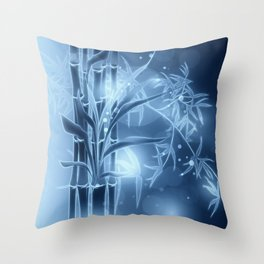 Bambuszweige - blau coloriert Throw Pillow