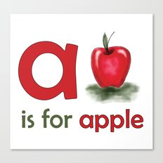 a is for apple, children alphabet for kids room and nursery Canvas Print