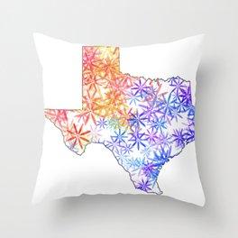 Texas Map State Vintage Flowers Print Throw Pillow