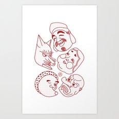 Japanese Masks Art Print