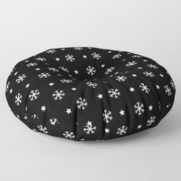 Black background with white snowflakes and stars pattern Floor Pillow