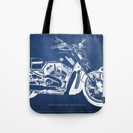 Blue motorcycle blueprint, HD VRSCF V-Rod Muscle,white line,home decor,man office, man cave decor Tote Bag