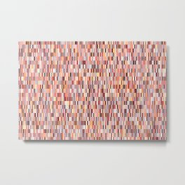 Peach, salmon and coral, pink shades, geometric pieces print Metal Print