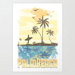 Palm Beach Surfer Art Print