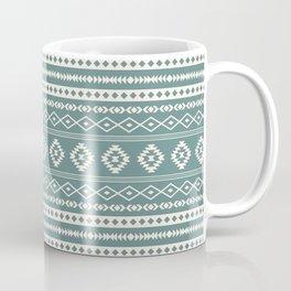 Aztec Cream on Teal Mixed Motif Pattern Coffee Mug