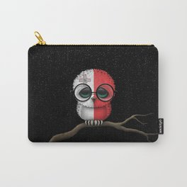 Baby Owl with Glasses and Maltese Flag Carry-All Pouch