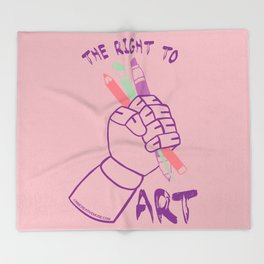 The Right to Art- pink Throw Blanket