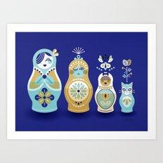 Russian Nesting Dolls – Navy Art Print