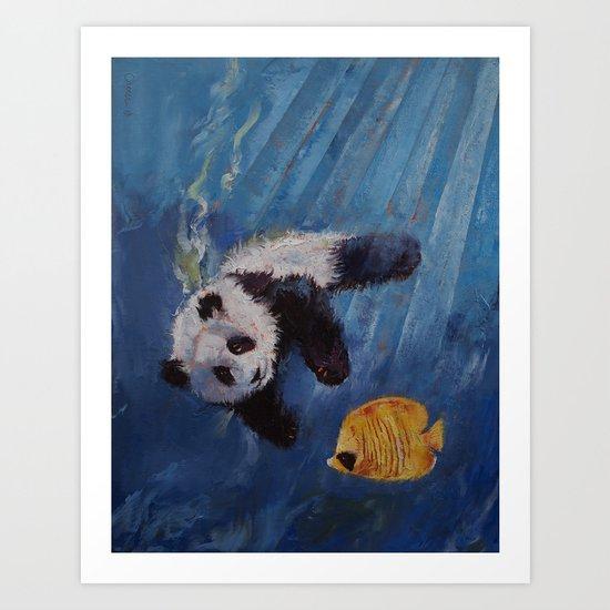 Panda Diver Art Print