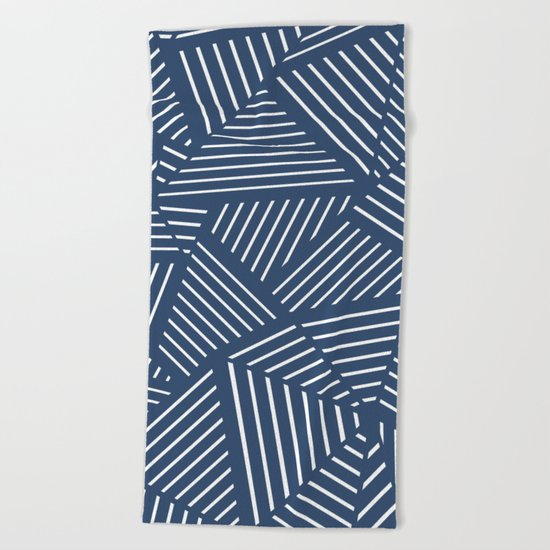 Abstraction Linear Zoom Navy Beach Towel