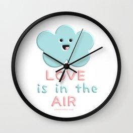 Love Is In The Air Blue Cloud Wall Clock