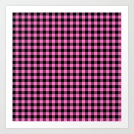 Classic Pink Country Cottage Summer Buffalo Plaid Art Print