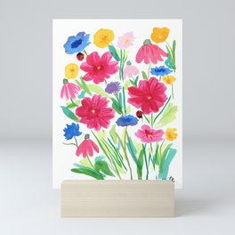 Whimsical Wildflowers, Watercolor Flowers, Pink Red and Yellow Flowers, Ladybug Art, Colorful Fun Mini Art Print