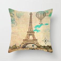 Vintage Eiffel Tower Paris Throw Pillow