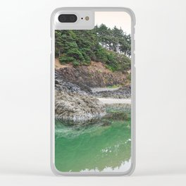 Oregon Coast Tide Pool Green Glowing Forest Coastal Cliff Rocky Landscape Beach Northwest Volcano Clear iPhone Case
