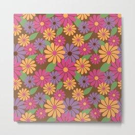 Pink Summer Floral Print Metal Print