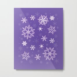 snowflakes on the blue Metal Print