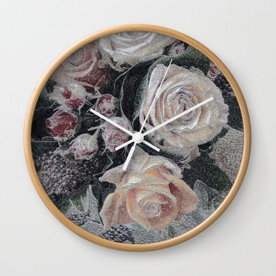 First Frost- Frozen Flowers  Wall Clock