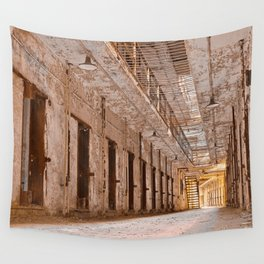 Glowing Prison Corridor Wall Tapestry