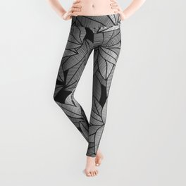 Black & White Leaves By Everett Co Leggings